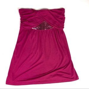 Express Sequin Tube Top Size Small Pink Rayon NWT